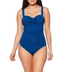 women's bleu by rod beattie kore shirred underwire one-piece swimsuit, size 4 - blue