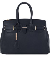 tuscany leather tl141529 tl bag - borsa a mano media con accessori oro blu scuro