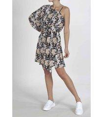 vestido para mujer tennis, corto y estampado de flores naranjas y blancas