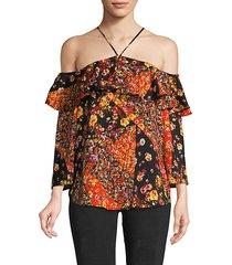 floral cold-shoulder halter top