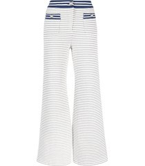 alessandra rich stripe-print cropped tweed trousers - white