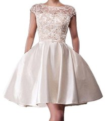fanmu cap sleeve lace satin short prom dresses cockatil homecoming gowns cham...