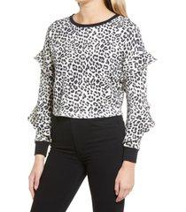 women's alice + olivia nettie ruffle sleeve pullover, size large - black