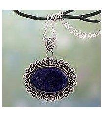 lapis lazuli pendant necklace, 'true admiration' (india)