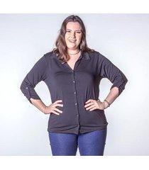 camisa manga 3/4 plus feminina botões
