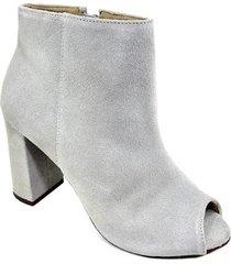ankle boot couro capodarte camurça salto grosso - gelo - 35 - feminino
