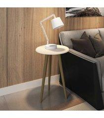 mesa de canto redonda brilhante 2075262 off white - bechara móveis
