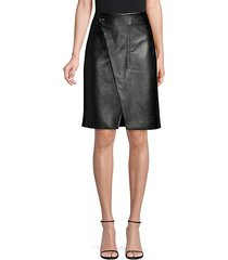 jade faux-leather wrap skirt