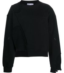 c2h4 distressed patchwork sweatshirt - black