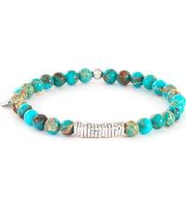 turquoise silver disc bead bracelet