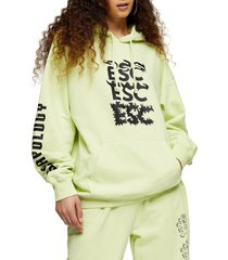women's topshop elephant hoodie, size small - yellow
