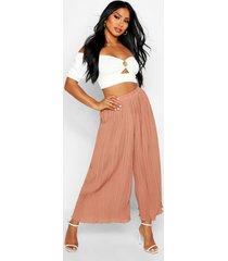 high waist pleated wide leg culottes, sand