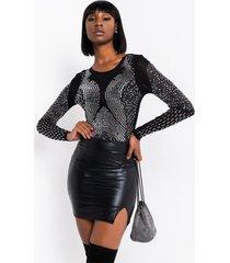 akira starlight star bright rhinestone mesh long sleeve bodysuit