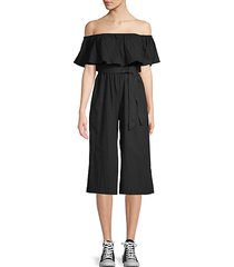 ruffled off-the-shoulder jumpsuit