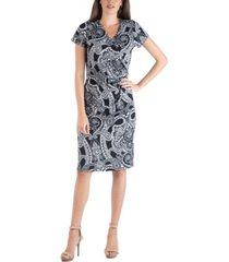 24seven comfort apparel paisley wrap over style midi dress