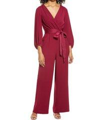 women's eliza j long sleeve wide leg jumpsuit, size 2 - red