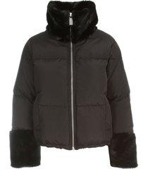 short padded jacket faux fur neck