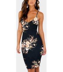negro sin mangas con estampado floral al azar sin espalda vestido con hombro ajustable cinturón