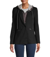 central park west women's 2-in-1 hoodie jacket - black - size xs