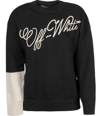 off-white embroidered logo over crewneck sweatshirt