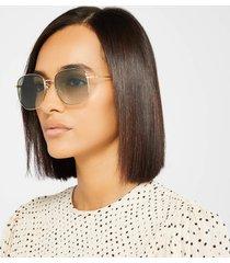 gucci women's metal square frame sunglasses - gold/green