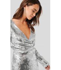 na-kd party overlap heavy sequin mini dress - silver
