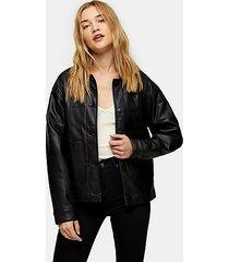 black boxy quilted pu jacket - black