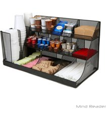 mind reader 14 compartment 3 tier large breakroom condiment organizer metal mesh