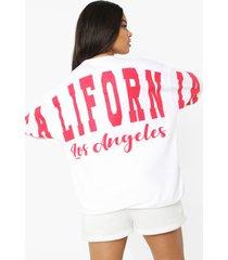 oversized california sweater met rugopdruk, white