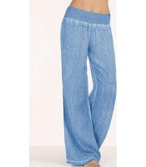celmia basic style wide leg stretch waistband pants