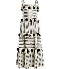 lola tassel-trim embroidered cotton dress