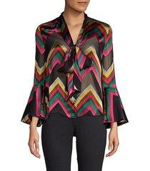 meredith printed tie-neck bell-sleeve blouse