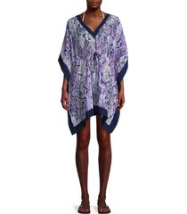 calvin klein women's printed caftan cover-up - navy - size s/m