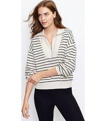 loft striped zip sweatshirt