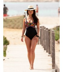 hot spots frill tummy control one-piece swimsuit