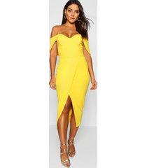 midi jurk met wikkelrok en open schouders, yellow