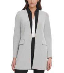 dkny contrast-collar topper jacket