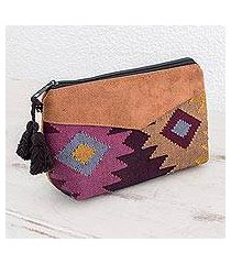 cotton cosmetic bag, 'geometric femininity' (guatemala)