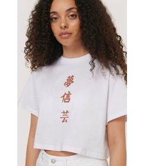 na-kd reborn croppad t-shirt med tryck - white