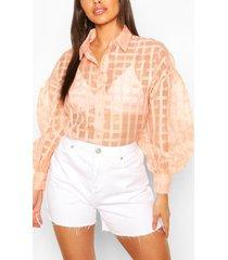 petite organza mesh flannel shirt, blush