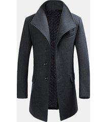 uomo trench coat invernale slim fit in lana calda a bavero di stile gentiluomo cappotto