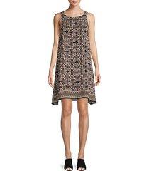 printed sleeveless shift dress