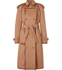 burberry button panel detail wool cashmere trench coat - brown