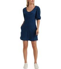 lucky brand striped puff-sleeve dress