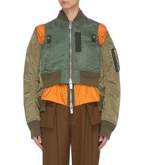 'ma1' detachable hood colourblock patchwork jacket