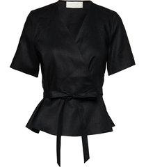 high pressure top linen blouses short-sleeved svart fall winter spring summer