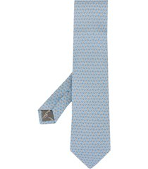 salvatore ferragamo belt print silk tie - blue