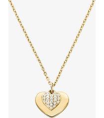 mk collana con cuore in argento sterling placcato in metallo prezioso e pavé - oro (oro) - michael kors
