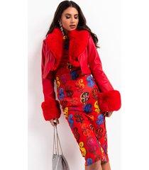 akira azalea wang fur trim giselle crop jacket