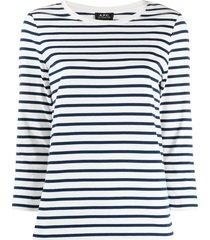 a.p.c. fine knit striped top - white